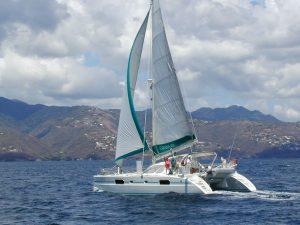 Snowcat under sail in St. Lucia