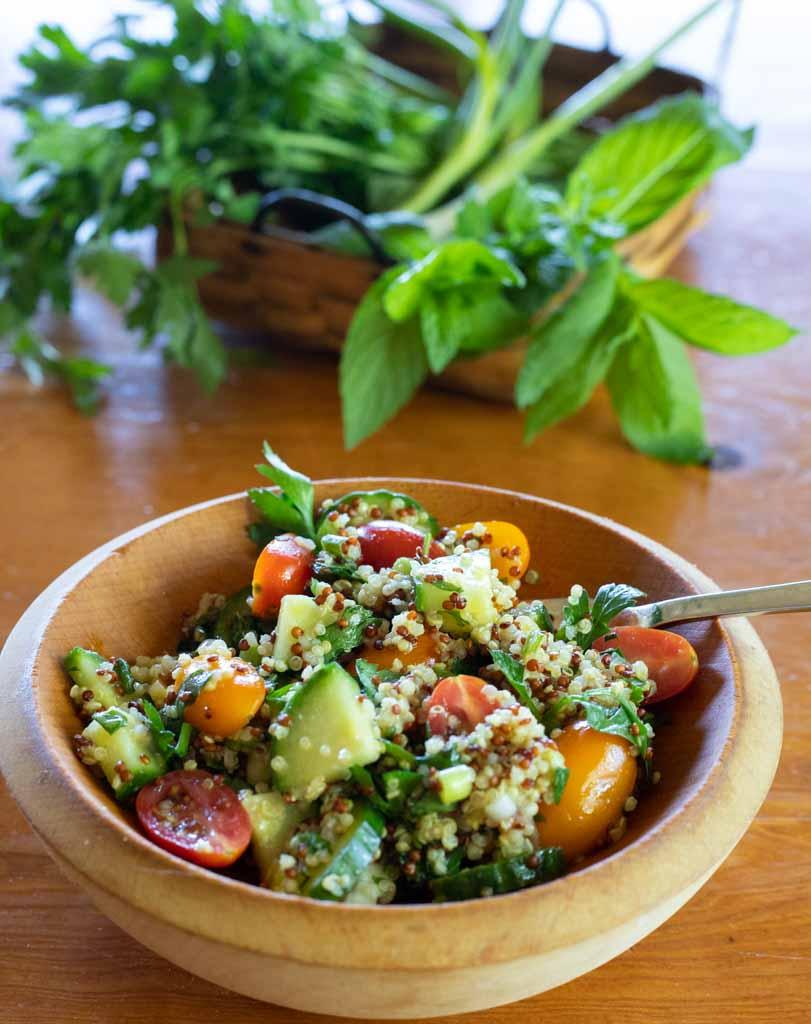 bowl of quinoa tabbouleh salad